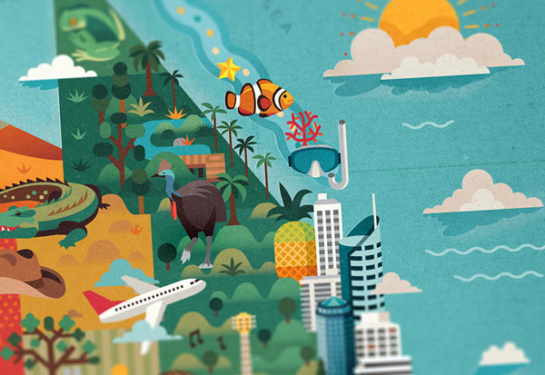 Discover Australia Map Illustration by Jimmy Gleeson - close up