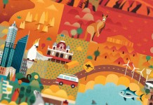 Discover Australia Map Illustration by Jimmy Gleeson - details