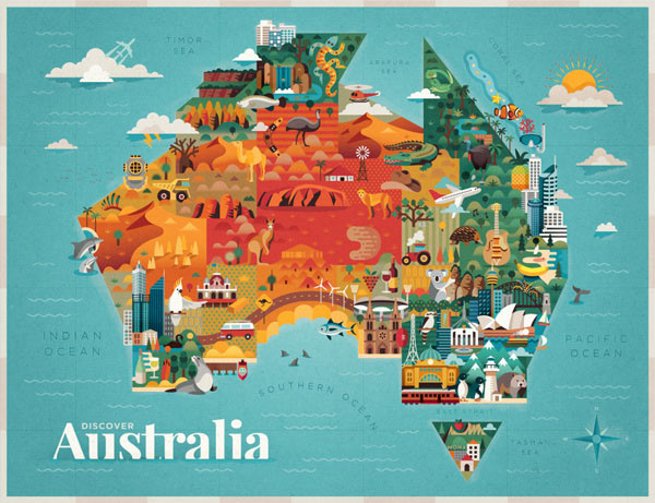 Discover Australia Map Illustration by Jimmy Gleeson