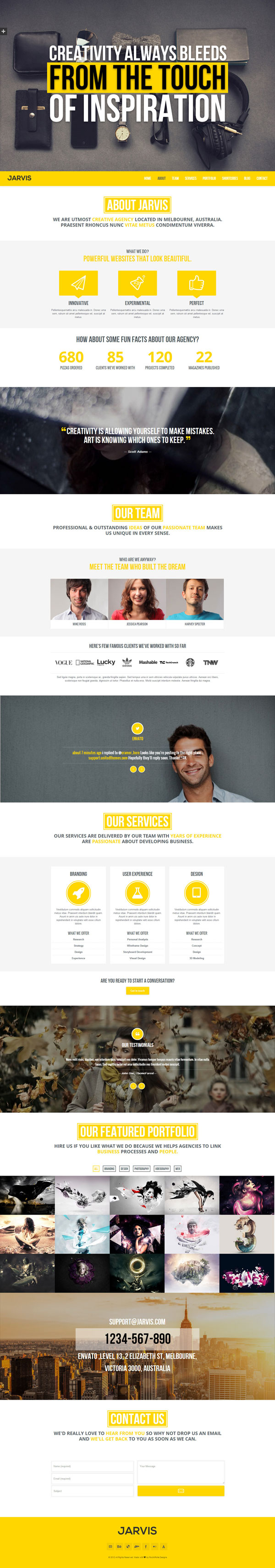 Jarvis One Page Parallax Wordpress Theme By Rocknrolladesigns
