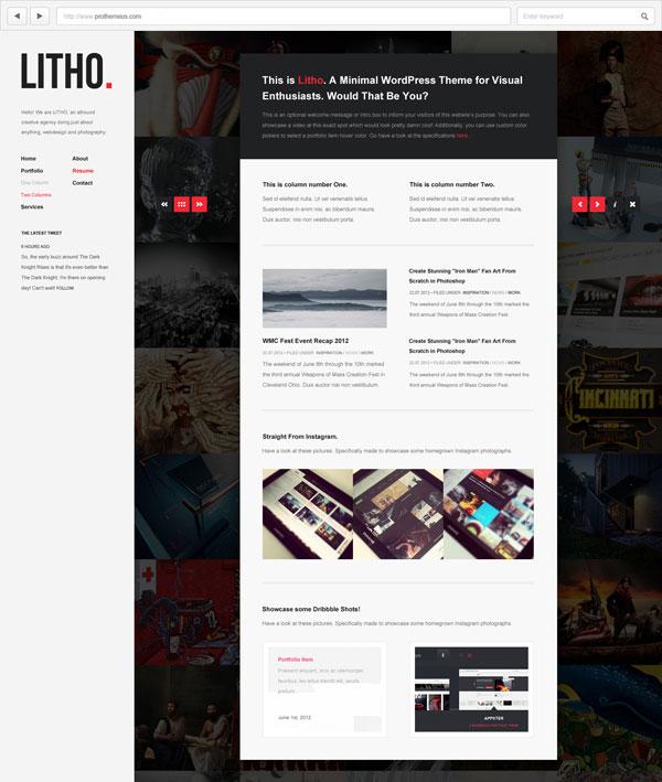 Litho grid-based fullscreen portfolio WordPress theme by Prothemeus