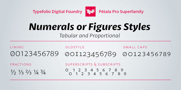 Pétala Pro - Numerals and Figures Styles