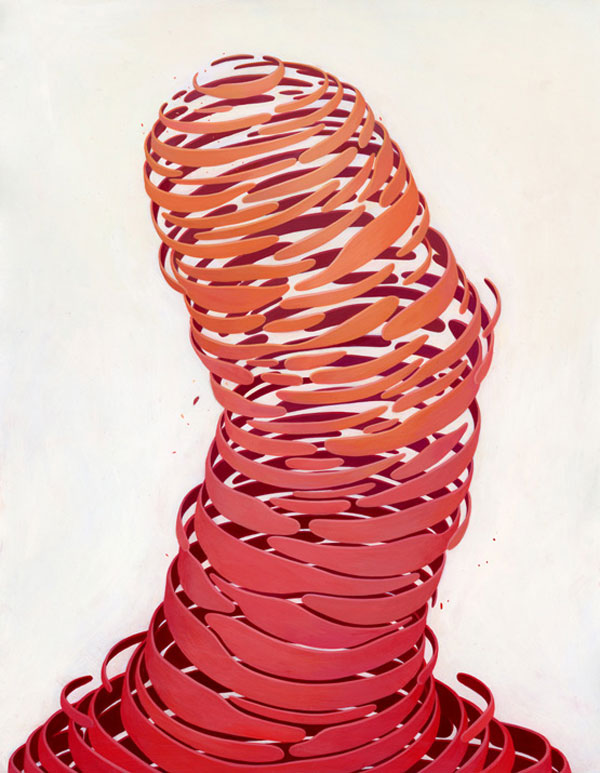 Ribbons - acrylic on paper artwork by Brendan Monroe
