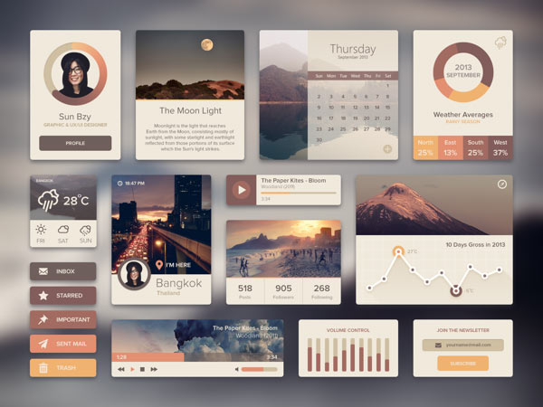 Flat ui and icon design by sunbzy for Web design tile layout