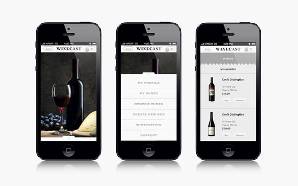 Winecast - Mobile User Interface by Anagrama