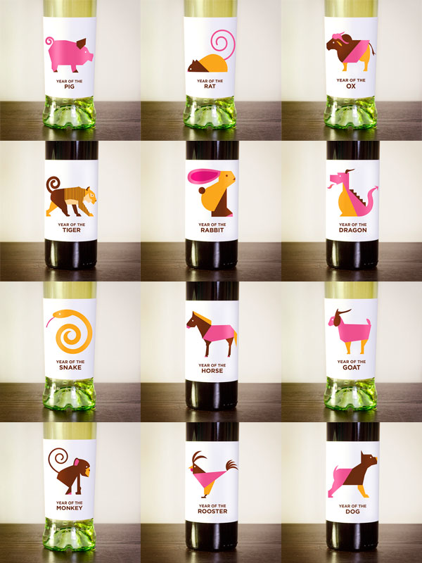 Chinese Zodiac Wine Packaging and Invitation Set