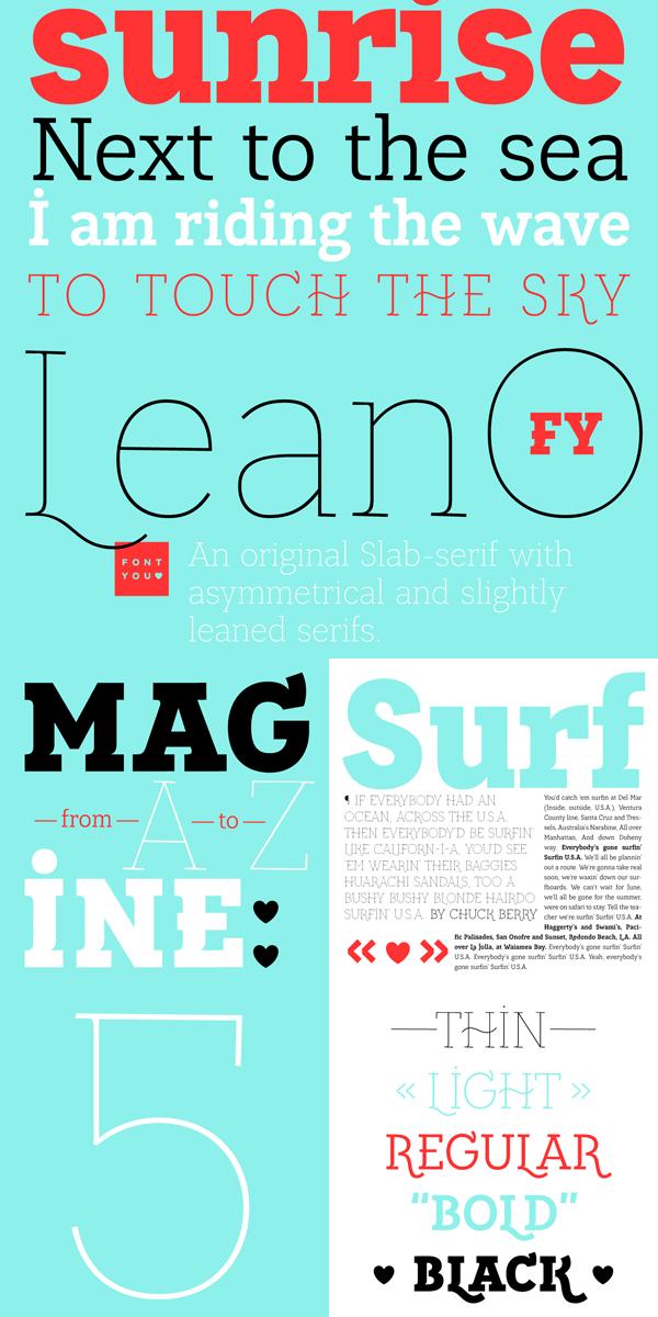 Lean-O FY – Decorative Slab Serif Font Family by Fontyou