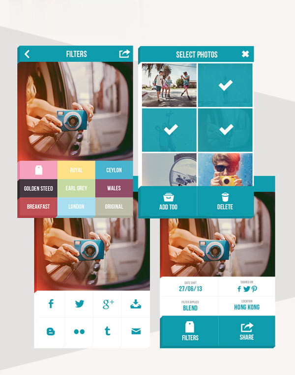 TheQ social camera - User Interface Design