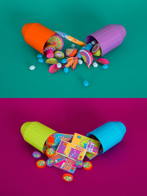 Vitamins & Placebo – Paper Sculptures by Zim&Zou for DER SPIEGEL