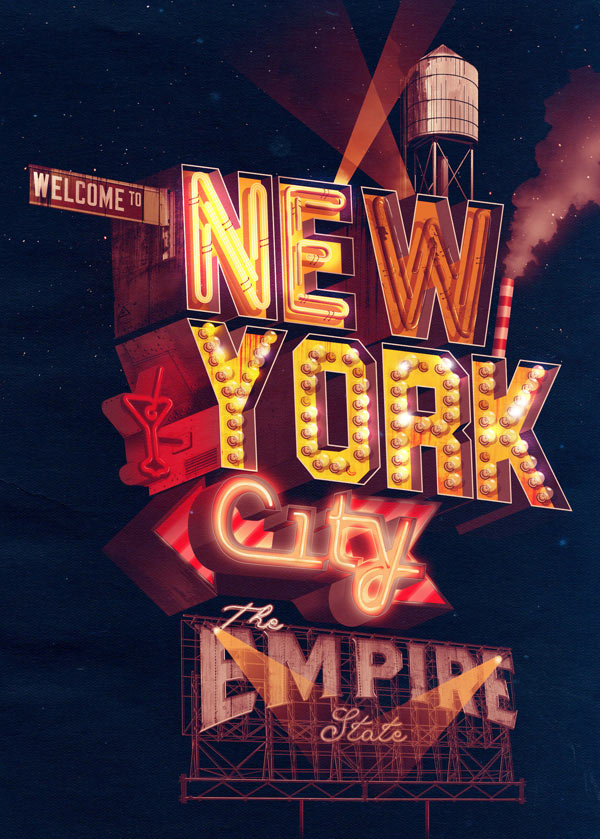 City Neon Typography Illustrations by ILOVEDUST