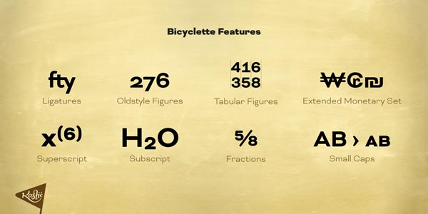 Bicyclette - OpenType features