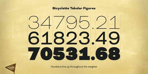 Bicyclette - tabular figures