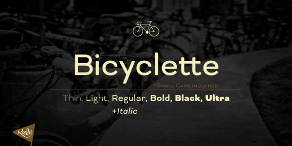 Bicyclette - trendy sans-serif font family by Nikola Kostić