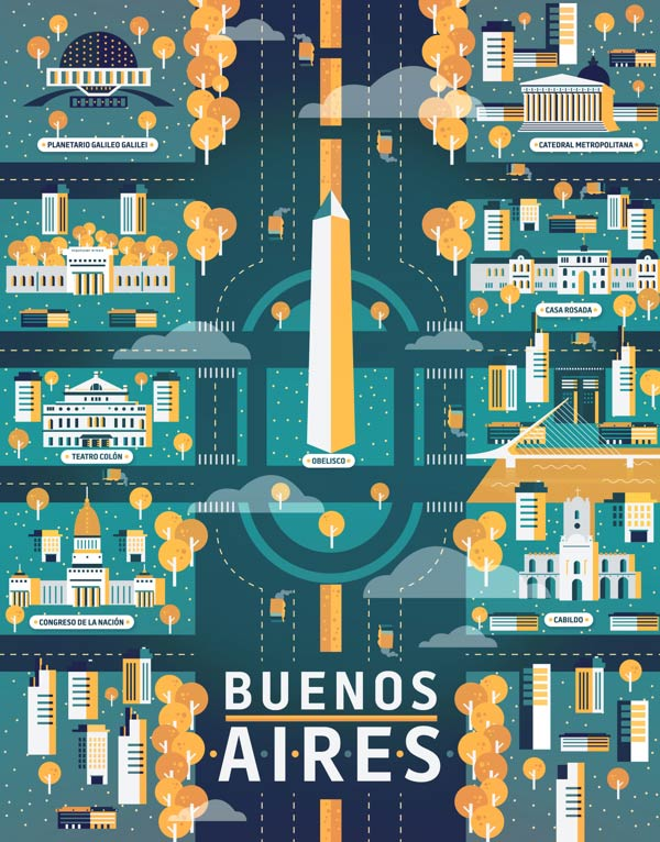 Buenos Aires Illustration made by Aldo Crusher for Magazine Aire's Cosmopolis Section
