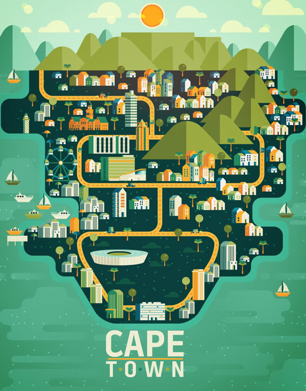 Cape Town Illustration made by Aldo Crusher for Magazine Aire's Cosmopolis Section
