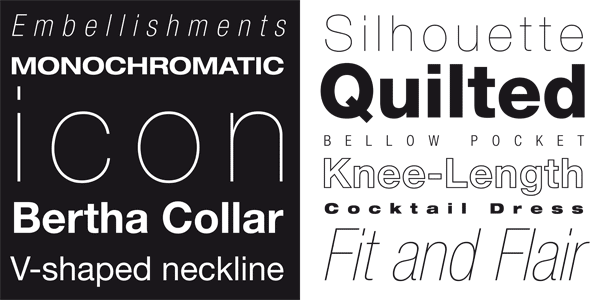 Some samples of the diverse styles and weights.