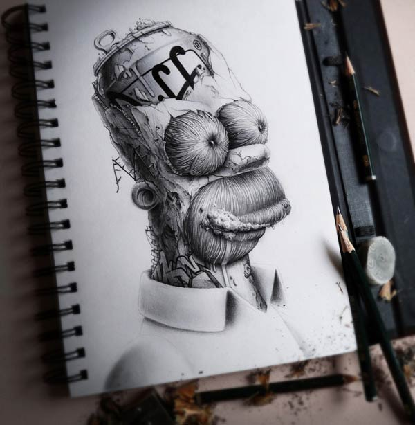 Homer Simpson Pencil Drawing by Pez Artwork