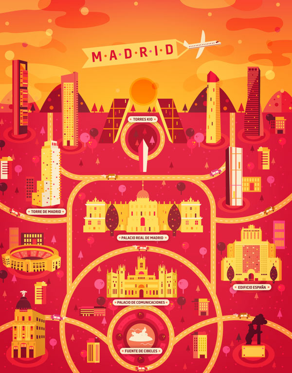 Madrid Illustration made by Aldo Crusher for Magazine Aire's Cosmopolis Section