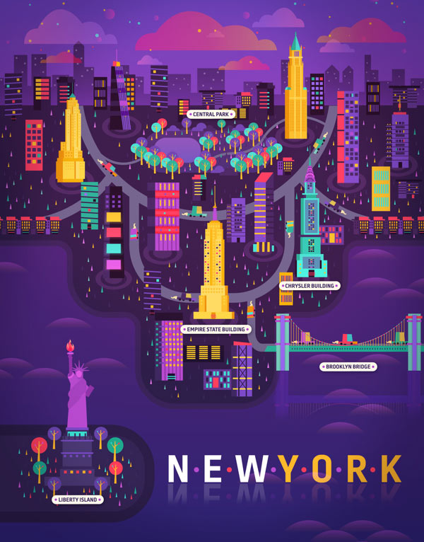 New York Illustration made by Aldo Crusher for Magazine Aire's Cosmopolis Section