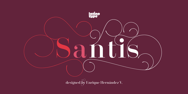 Santis decorative and fashionable font family by Latinotype