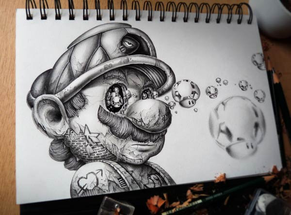 Super Mario Pencil Drawing by Pez Artwork