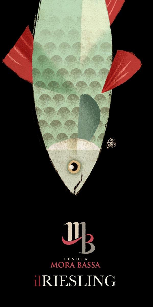 Tenuta Mora Bassa - Riesling - Wine Label Illusteation by Riccardo Guasco