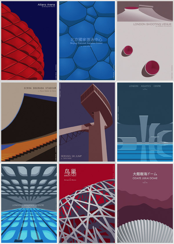 Architectural Poster Illustrations Of Sports Buildings By André Chiote