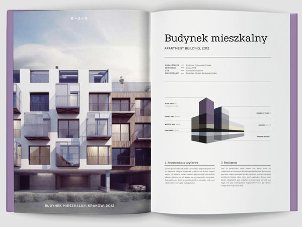 B – A – S architecture bureau brochure design by Studio Otwarte
