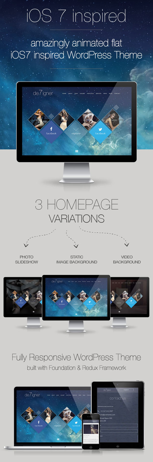 De7igner – Flat iOS7 Inspired OnePage WordPress Theme