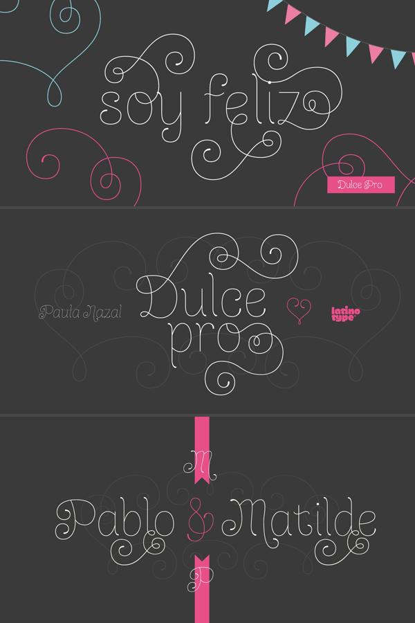 Dulce Pro - Monoline Swash Typeface by Latinotype