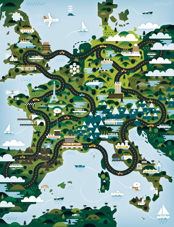 Europe Illustration for The Good Life Magazine
