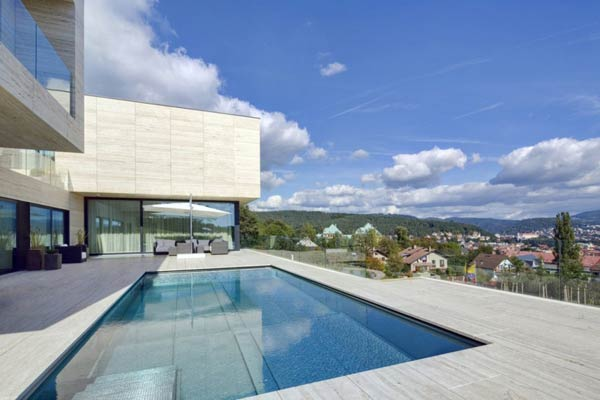Pool of a Villa in Decín, Czech Republic by Studio Pha