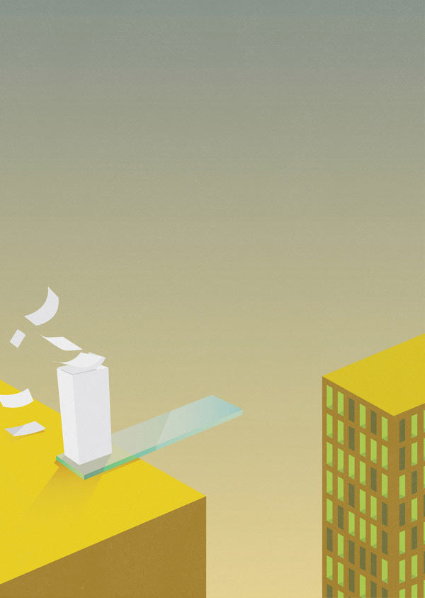 Precarity - Minimalist Illustration by Ray Oranges