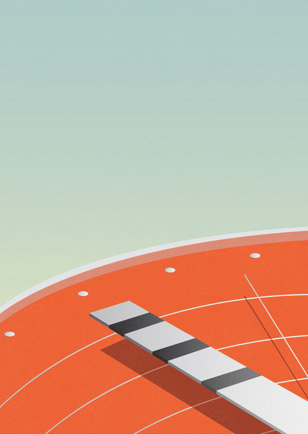 Race against time - Minimalist Illustration by Ray Oranges