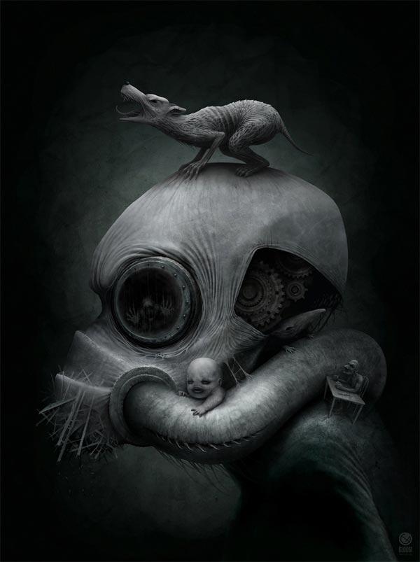 Spooky Illustration by Anton Semenov
