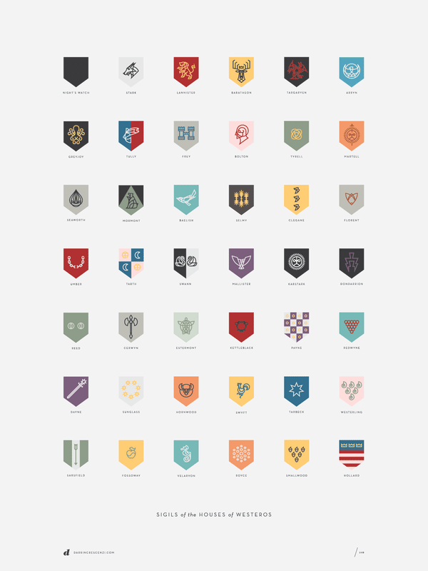 Sigils of the Houses of Westeros poster by Darrin Crescenzi
