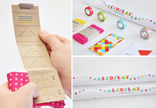Aeroplay Kites - colorful do-it-yourself kite packaging by Lily Li