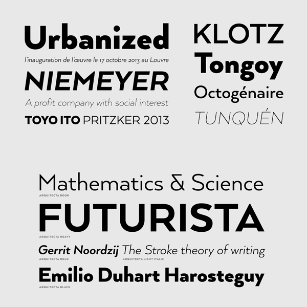 Arquitecta humanist typeface by Latinotype