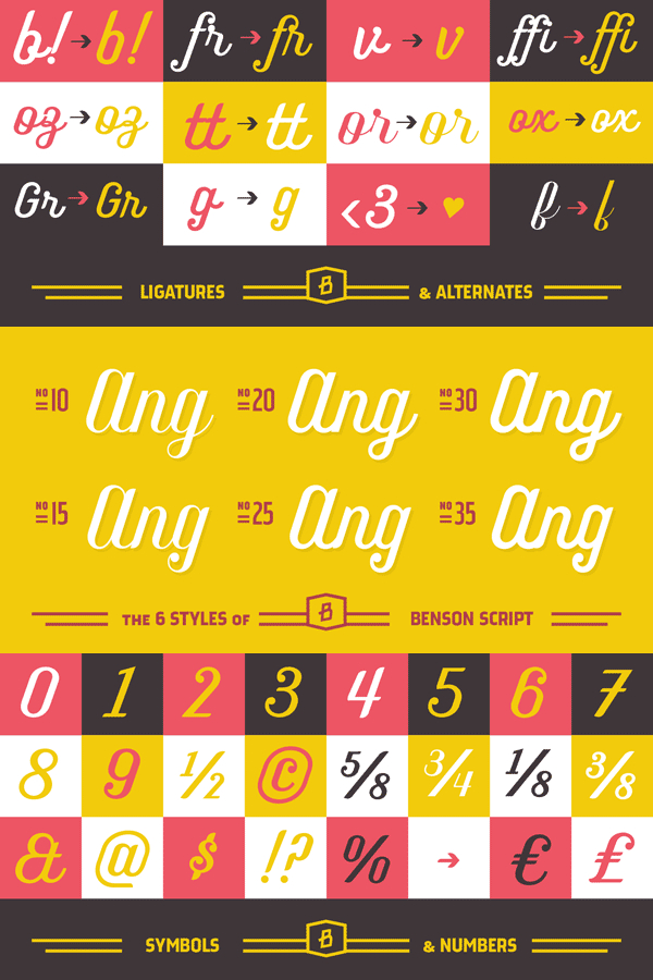 Benson Script - Ligatures, Alternates, Styles, Symbols, Numbers
