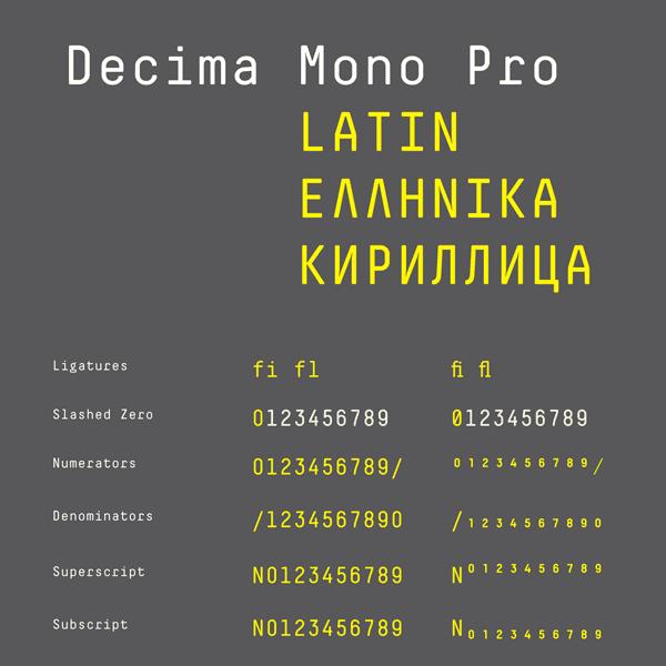 Decima Mono Pro Typeface