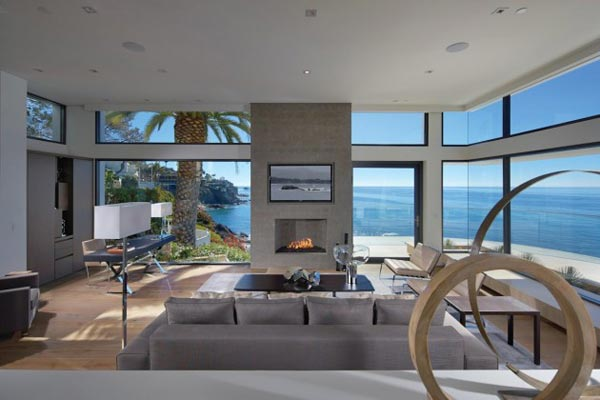 Living Room of the Rockledge Residence in Laguna Beach, California by Horst Architects and Aria Design