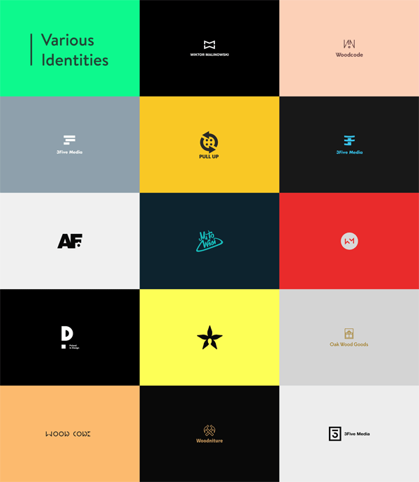 Logos by Wiktor Malinowski for various identities