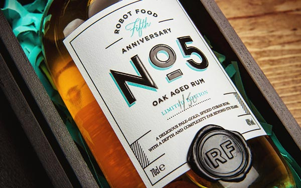 Robot Food's Oak Aged Rum Limited Edition Packaging