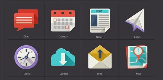 Flat Icons with long shadow by Diana Costin