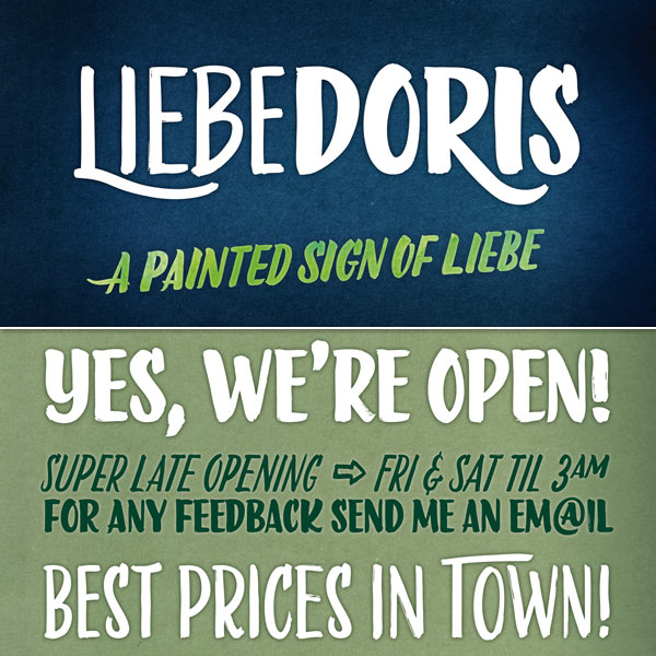 LiebeDoris - Painted Sign Font Family by Ulrike Wilhelm