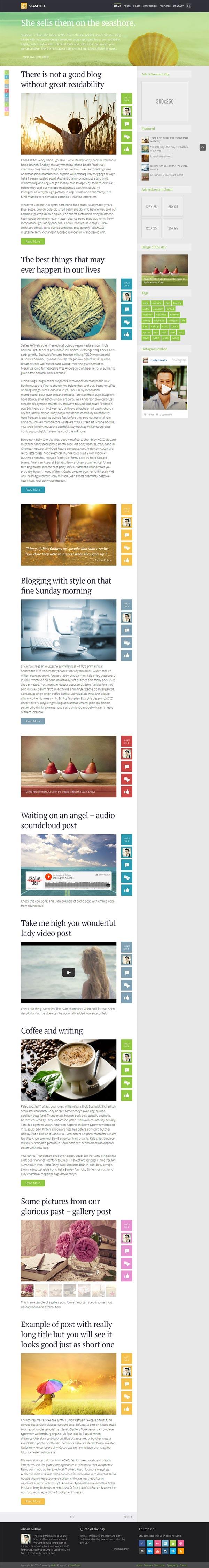 SeaShell - Modern Responsive WordPress Blog Theme by Meks