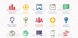 55 Flat SEO Service and Web Design Icons