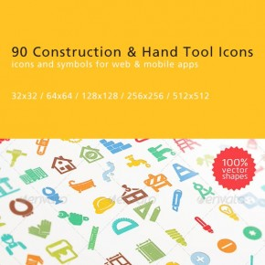 90 Flat Construction and Hand Tool Icons