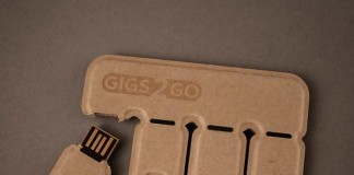 "Gigs 2 Go is a portable ""tear-and-share"" file storage."