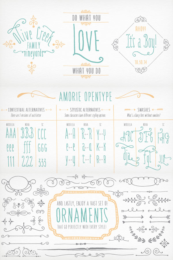 Amorie - OpenType Features and Ornaments
